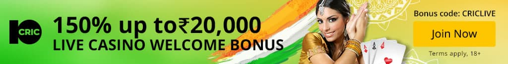 10CRIC Live Casino bonus