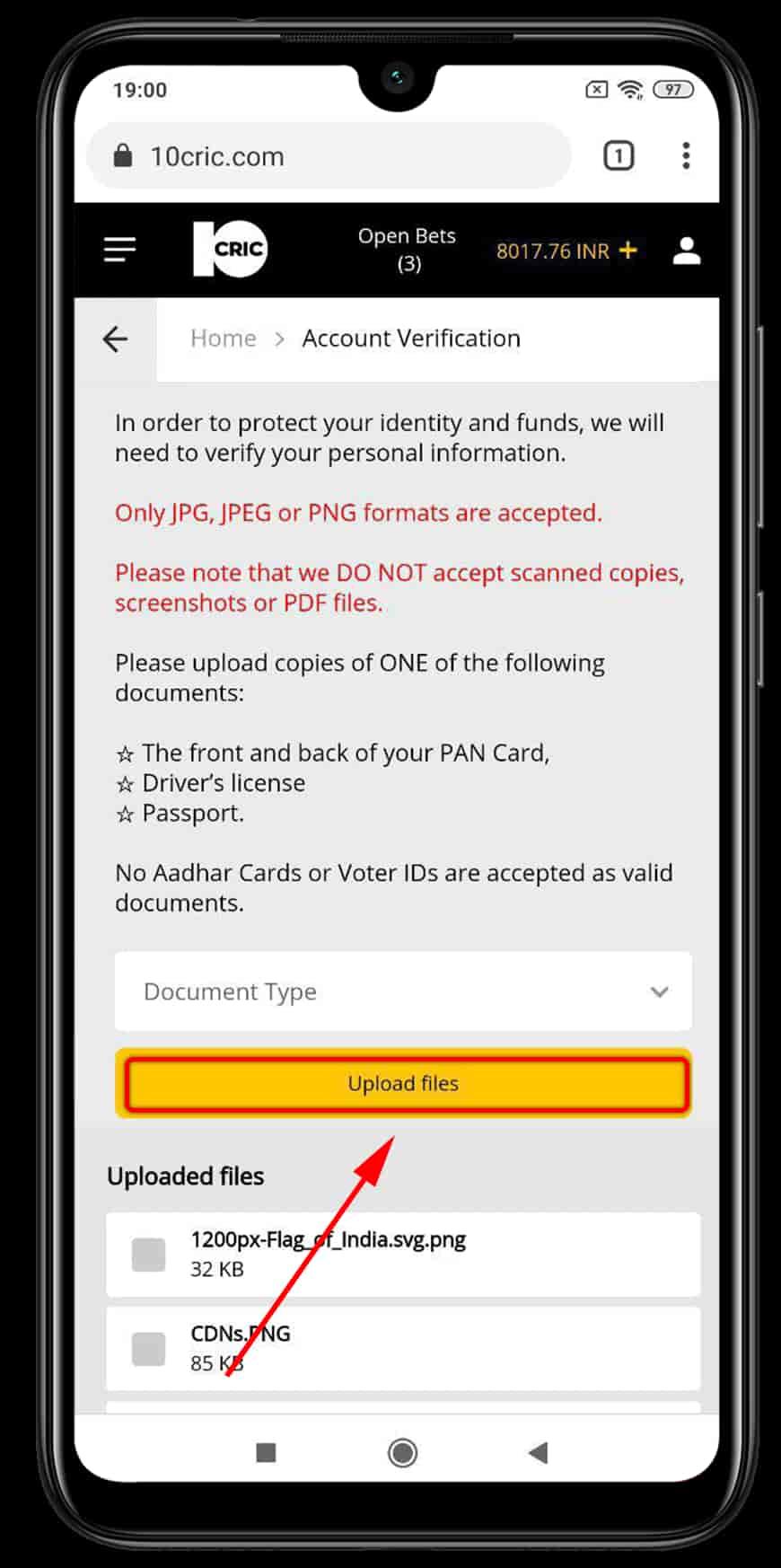 10cric step 3 verification