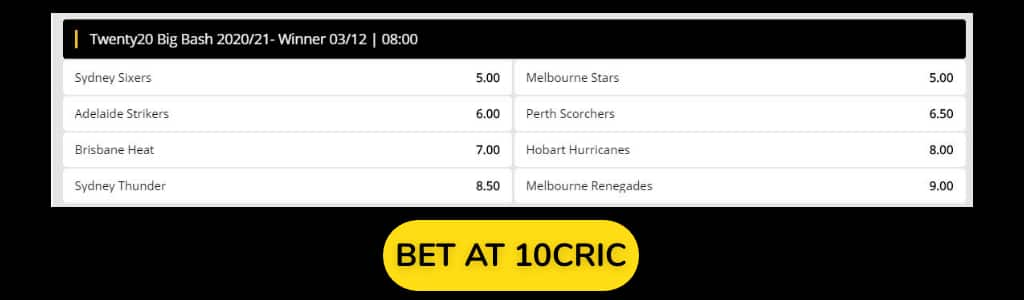 BBL 2020 Odds at 10CRIC