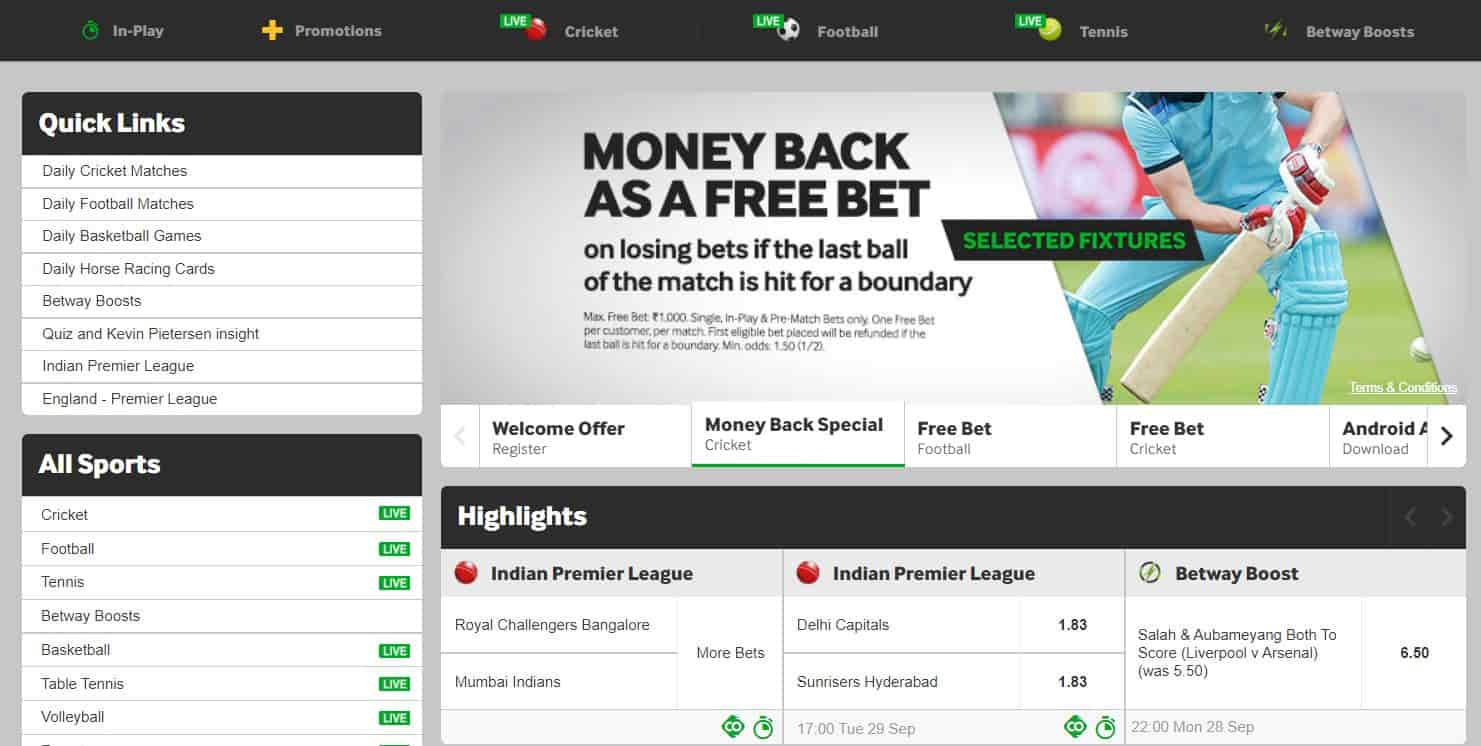 Sports betting at Betway