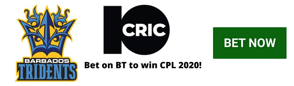 Barbados Tridents Odds CPL 2020 - 10CRIC