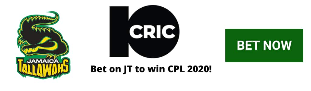JT CPL 2020 Odds at 10CRIC