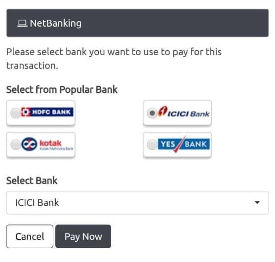 Net Banking deposit