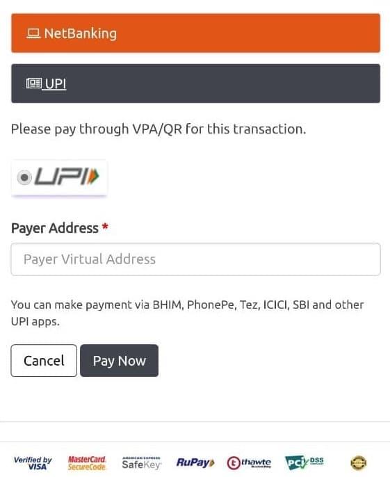 UPI deposit